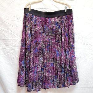 Lane Bryant Purple Pleated Elastic Waist Skirt
